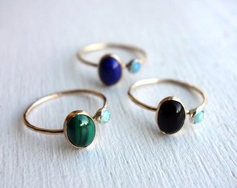 Orbit Rings - Malachite - Lapis- Onyx Ovals and 3mm Opal in 14k Gold-fill and sterling silver