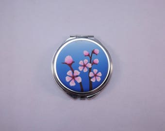 Polymer Clay Embellished Compact Purse Mirror, Cherry Blossoms