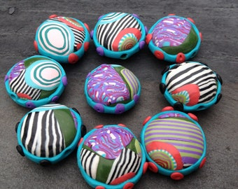 Set of Puffy Round Dotted Beads in Polymer Clay Fun and Happy Colors Turquoise Coral Purple
