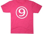 Kids CIRCLE Ninth Birthday T-shirt - Hot Pink