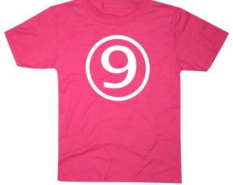 Kids CIRCLE Ninth Birthday T-shirt - Hot Pink