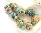 Etched Flower Beads Handmade Lampwork