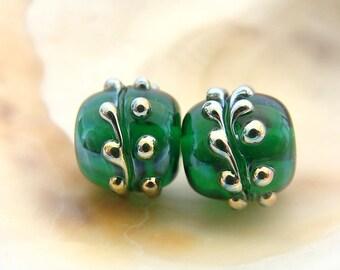 Green Handmade Lampwork Bead Pair