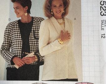 Vintage Jacket Pattern, 1990's Jacket, McCall's Pattern, Busy Woman's Sewing Pattern 5523, Nancy Zieman for McCall's, Cut Pattern