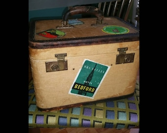 Vintage Train Case with Original  Travel Stickers - Must See