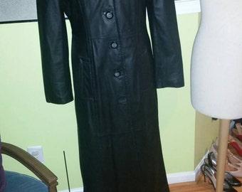 Sleek Matrix Styled Black Leather Coat