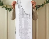 MANHATTAN ISLAND Street Map City Map Drawing Black Ink (12 x 42 Art Print) New York Wedding Realtor Gift Central Park Midtown Uptown Harlem