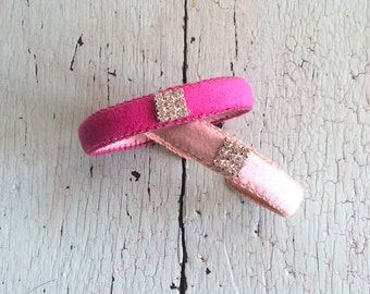 Thin Pink Ultrasuede Cuffs with Rhinestones