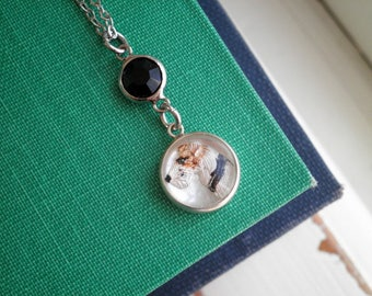 Intaglio Necklace - Vintage Silver Fox Terrier Dog & Black Rhinestone Charm Necklace, Antique Essex Crystal Victorian Jewelry Dog Lover Gift