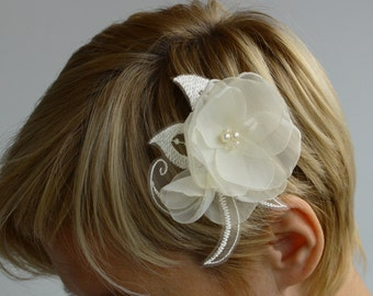 Wedding time--ivory flower composition --for Bride, bridesmaid and flower girl---head piece, hair  pins
