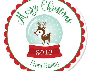 Personalized Christmas Stickers --  Snow Globe -- Christmas Labels, Personalized Stickers, Christmas Party Favors - Choice of Size