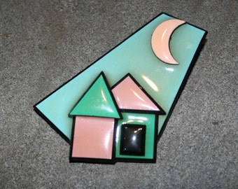 1990s, Resin Pin, Resin Brooch, House Pin, House Brooch, Funky Pin, Funky Brooch, Vintage House Pin, Vintage House Brooch