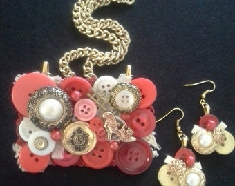Assemblage Statement Button Necklace/Brooch and Earring Set, Reds, Vintage Inspired