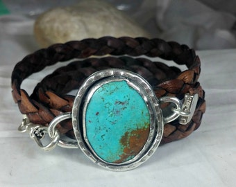 Turquoise Wrap  Bracelet,  American Turquoise Cuff Bracelet,  leather and turquoise  bracelet, turquoise jewelry