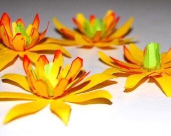 Paper Daffodils - Set of 4 Handmade Flowers for Embellishment