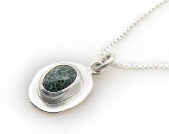 Handmade Silver Framed Greenstone Drop Pendant