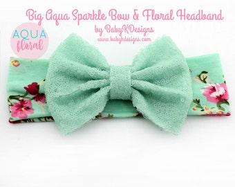 Baby Girl Big Messy Bow Headband Aqua Top Knot Headband. Baby Floral Soft Cotton Headband. Toddler Girl Turban. Baby Shower Gift. Hair Bow