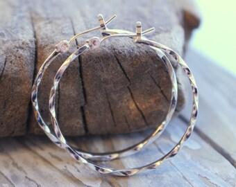 Sterling silver Hoop Earrings lever back earrings - Twisted Hoop Earrings