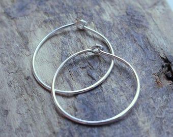 Simple sterling silver hoop earrings - Silver Hoops
