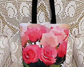 Watercolor Roses Tote, Original Photo Design, Hand Sewn and Professionally Printed, Summer Bag, Book Bag, Beach Bag, Everyday Big Purse,ECS