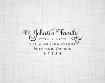 Simply Script Family Address Stamp, Personalized Address Stamp, Holiday Cards Address Stamp, Rubber Stamp, Self Inking Stamp, Custom Address