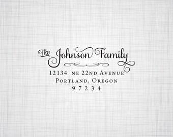 Simply Script Family Address Stamp, Personalized Address Stamp, Holiday Cards Address Stamp, Rubber Stamp, Self Inking Stamp, Custom Address