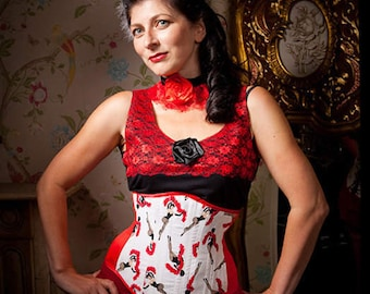 Burlesque Print Underbust Corset, Duchess Satin in red or Black, in sizes 6 to 40