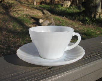 Vintage White Swirl Fire King Teacup and Saucer - Vintage Fire King 1960s