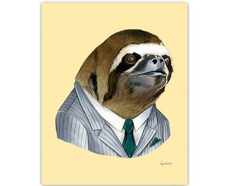 Sloth print, sloth wall art, business sloth, sloth art print, sloth nursery, sloth art, Ryan Berkley Illustration, 8x10, dapper animals