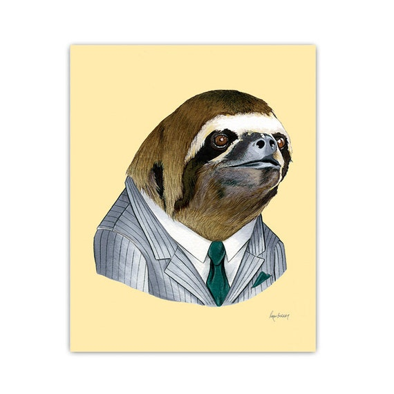 Sloth print, sloth wall art, business sloth, sloth art print, sloth nursery, sloth art, Ryan Berkley Illustration, 8x10, dapper animals