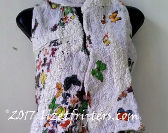 Nuno Felted Scarf - Butterfly Scarf - Winter Scarf Eco Fashion  Casual Wear