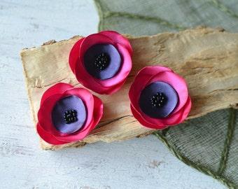 Satin fabric flowers, silk flower appliques, small satin rose, satin wedding flower, flower embellishmen (3pcs)- FUCHSIA and EGGPLANT PURPLE