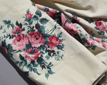 "1940s Vintage ""Rosalie"" Pink Roses Fabric 7-3/4 Yards Running Length Unused Bolt Cotton Floral Fabric"