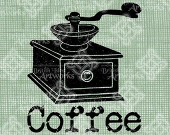 Digital Download, Coffee Label or Sign with Coffee Grinder image, Vintage Antique, Transparent png, digi stamp, Illustration