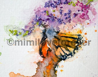 Butterfly Art. Butterfly Watercolour Painting. Hand embroidery flower. Original Unique artwork. Framed.
