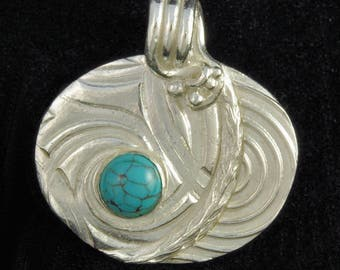 Fine Silver Patchwork Pendant with Turquoise Cabochon