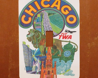 Groovy Chicago -- Vintage Airline Travel Poster Light Switch Cover -- Oversized (Multiple Styles)