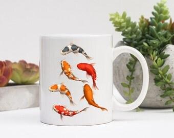 Koi Fish Coffee Mug | Koi on Coffee Mug | Gift for Koi Lover | Coffee Mug Gift | Sublimation Mug |  Japanese Koi Coffee Mug