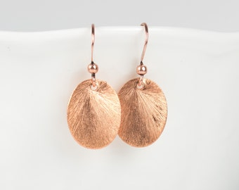 Bright Copper Earrings, Brushed Copper Oval Earrings, Small Drop Earrings, Small Copper Earrings, Gifts Under 10