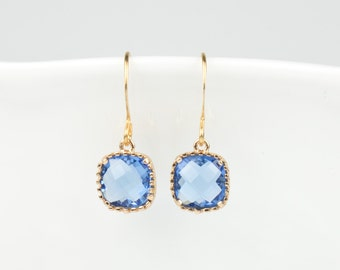 Sapphire Gold Square Earrings, September Birthstone Gold Earrings, September Birthday Gift, Gold Earrings, Bridesmaid Jewelry