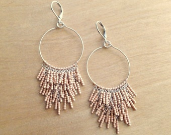 Silver Fringe Hoop Earrings - Matte Light Gold
