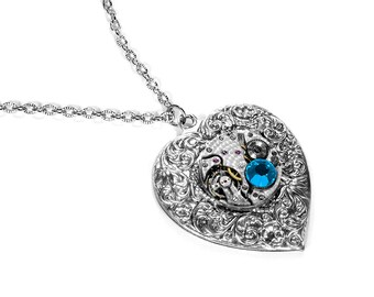 Steampunk Jewelry Necklace Silver Vintage Watch HEART Pendant TURQUOISE Crystal Anniversary Wedding, Mothers, Bridal - Jewelry by edmdesigns