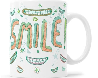 SMILE Teeth Tooth Mug Dentist Gift Dental Assistant Dental Gift Toothbrush Cup Smile Mug Dentist Joke Mug Denture Joke Mug Dental Humor