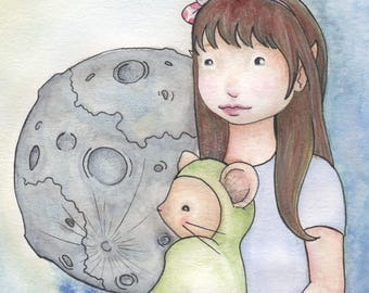 Moon Mouse Waldorf Inspired Watercolor Painting | Whimsical Illustration | Nursery Room Decor