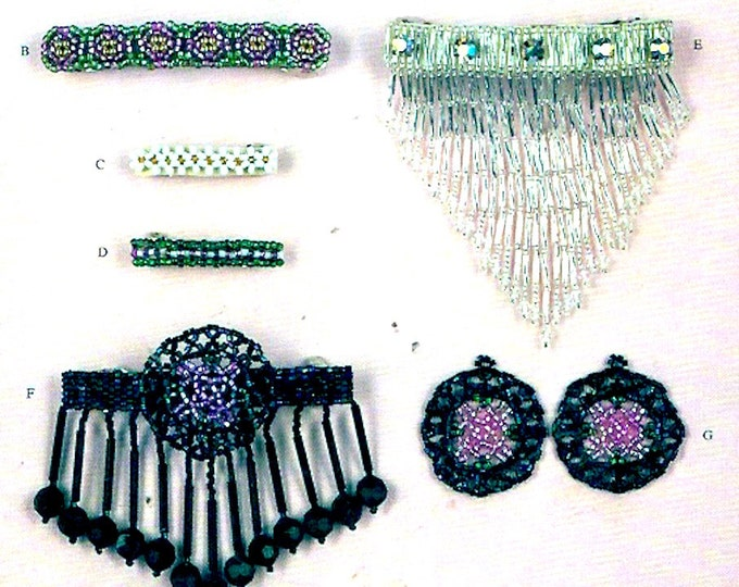 Victorian Beaded designs Barrettes and Bracelets how to accessories booklet Patterns Leaflet Instructional Jewelry by Jane Sherwood