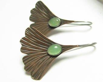 Copper Ginkgo Earrings, Green Adventurine Earrings, Leaf Earrings, Mixed Metal Earrings, Nature Earrings, Copper Jewelry, Artisan Earrings