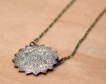 Etched Mandala Necklace