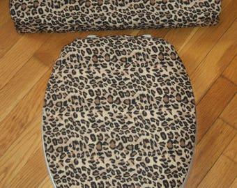 Leopard Print Toilet Seat Lid Cover Set