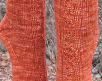 hand knit orange wool cable socks