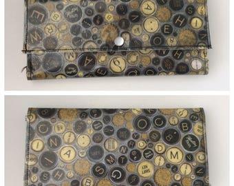 Typewriter Keys Vintage Inspired Tricold Paper Wallet Typography Vegan Black